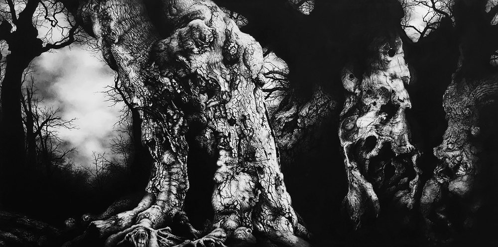 Windsor Forest  -  60cm x 120cm - Charcoal & Conte, Paper mounted on wood - 2016