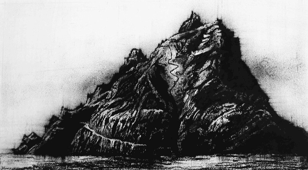 Skellig Michael, Ireland - 21cm x 38cm - Oil Pastel on Paper - 2015