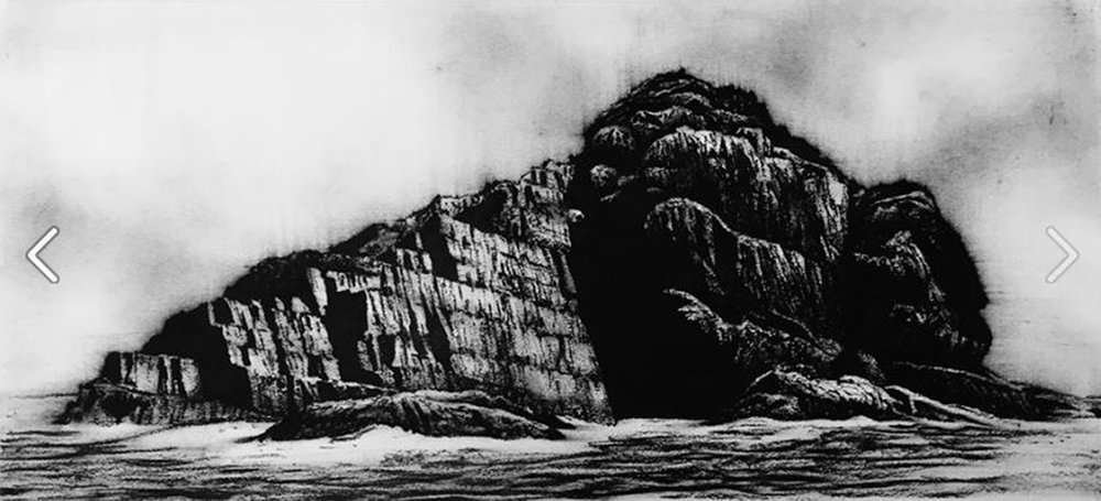 Puffin Island, Ireland - 30cm x 65cm - Oil Pastel on Paper - 2016