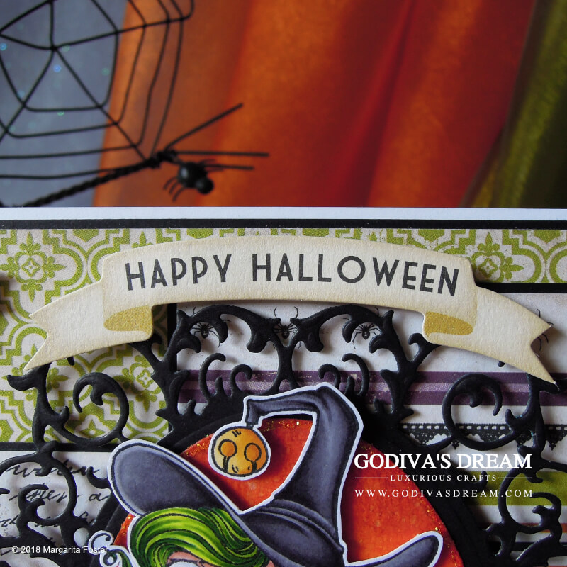 "Bewitching Halloween Card ""Hocus Pocus"" by Godiva's Dream.Witches, magic, frogs and bats - oh my! Spooky fun abound on this spellbinding Halloween card! #cardmaking #papercrafting #handmadehalloween #halloweencard #stamping"