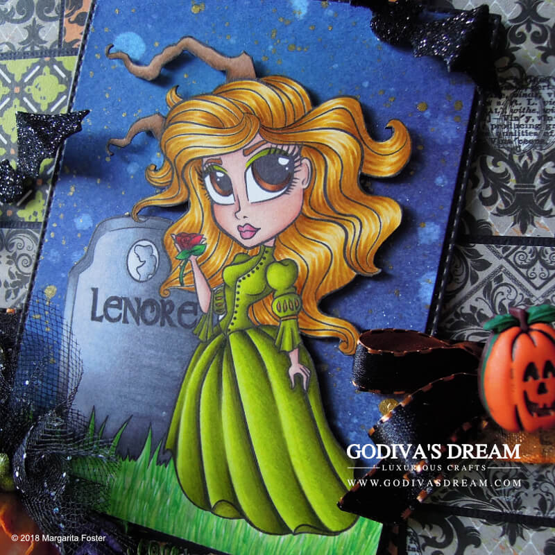 "Ghostly Halloween Card ""Lenore"" by Godiva's Dream. Halloween is the time to have fun and get a little spooky! And what can be spookier than ghosts? #cardmaking #papercrafting #handmadehalloween #halloweencard #stamping"
