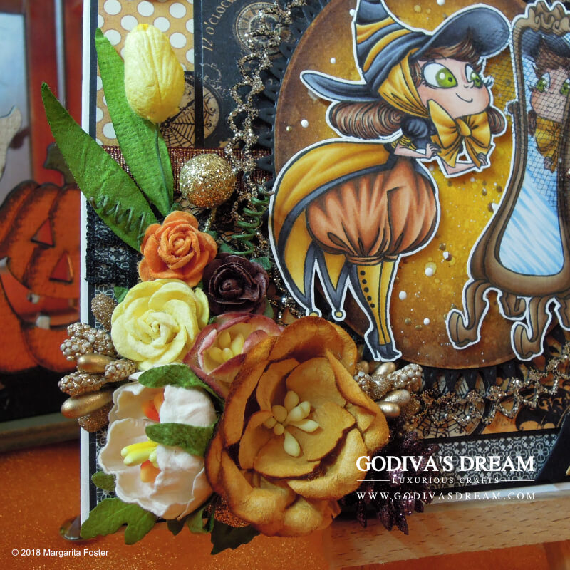 "Spellbinding Halloween Card ""Costume Party"" by Godiva's Dream. Dressing up for Halloween is part of the fun as proven by this stylish witch card. Click to read all about how autumnal yellow deserves its place in spooky projects and other creative details about this piece. #cardmaking #papercrafting #handmadehalloween #halloweencard #stamping"