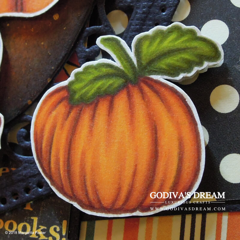 "Trick or Treat Halloween Card ""Give Me Something Good to Eat"" by Godiva's Dream. Halloween wouldn't be Halloween without trick or treating. This cheery, colourful project is all about the yummy stuff with a bit of seasonal spookiness thrown in. #cardmaking #papercrafting #handmadehalloween #halloweencrafts #halloweencard #stamping"