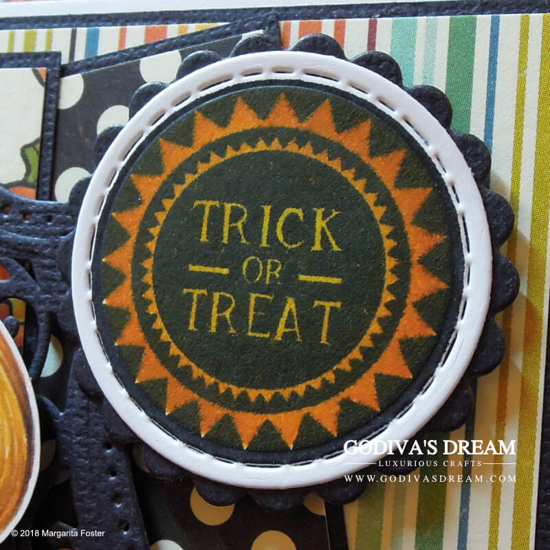 """Trick or Treat Halloween Card """"Give Me Something Good to Eat"""" by Godiva's Dream. Halloween wouldn't be Halloween without trick or treating. This cheery, colourful project is all about the yummy stuff with a bit of seasonal spookiness thrown in. #cardmaking #papercrafting #handmadehalloween #halloweencrafts #halloweencard #stamping"""