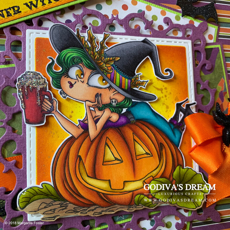 "Pumpkin Spice Witch Halloween Card ""Spooky Coffee Break: by Godiva's Dream. Halloween has arrived! The spookiest day of the year can only mean that I've created a matching card to mark the occasion. Witches, pumpkins, spiders, bats and even coffee may be involved, not a word of lie! #handmadecards #handmadehalloween #papercrafting #cardmaking #halloweencard"