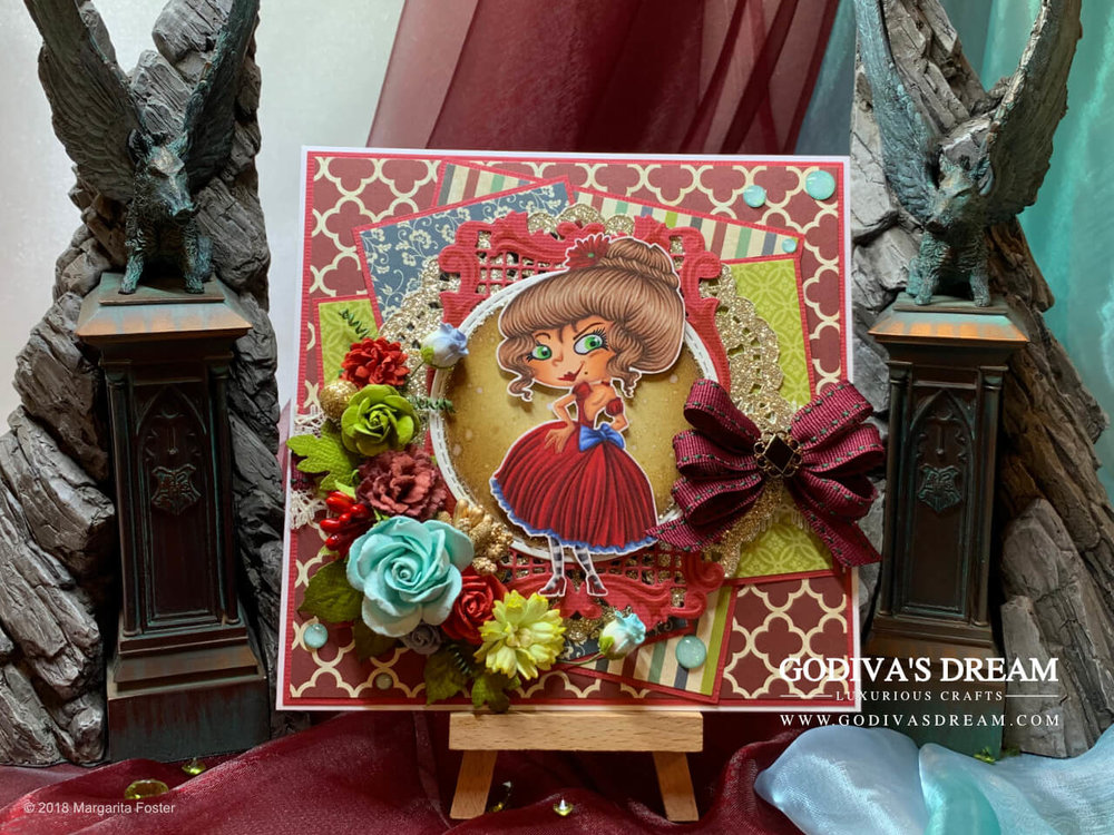 "Quirky Birthday Card ""'Ello Poppet"" by Godiva's Dream. Are you a fan of quirky characters? I certainly am! This jewel-toned birthday card is luxurious, feminine and quirky at the same time. #cardmaking #handmadecard #papercrafting #birthdaycard #stamping"