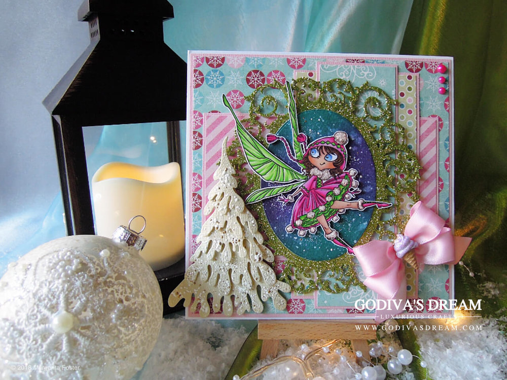 "Fairy Christmas Card ""Winter Magic"" by Godiva's Dream. Beautiful Christmas cards can be traditional, but they can also be a little bit different from the norm. How about a pink one featuring a jolly wintry fairy with a bobble hat? #cardmaking #handmadecard #handmadechristmas #christmascard #papercrafting"