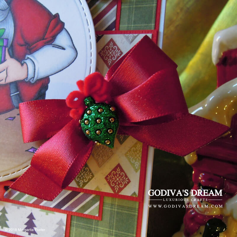 "Santa Christmas Card ""Santa's Gift"" by Godiva's Dream. When you have Christmas, you need Santa. And maybe elves too. Oh, and a gingerbread man! You can find all these things and more on this festive card. #cardmaking #handmadecard #handmadechristmas #christmascard #papercrafting"