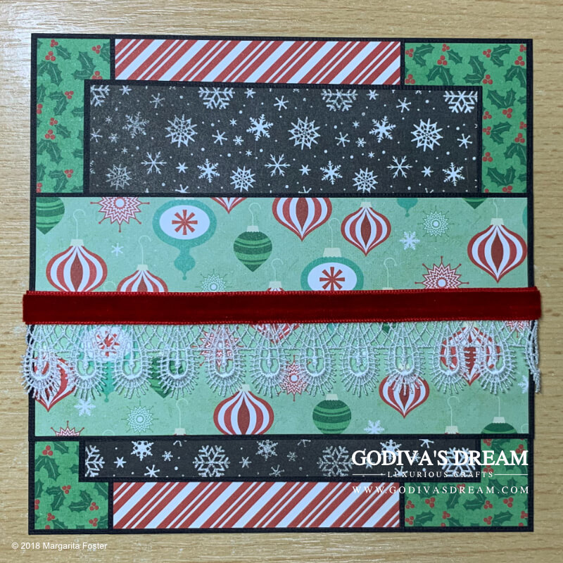 "Christmas Card Tutorial ""Christmas Cheer"" by Godiva's Dream. This, somewhat traditional and a bit whimsical, luxurious, Christmas card is sure to make anyone smile during the holiday season. I included a step-by-step tutorial as an extra festive treat. #cardmaking #handmadecard #handmadechristmas #christmascard #papercrafting"