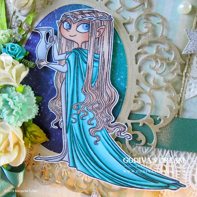 """The Lord of the Rings"" Birthday Card ""The Elven Queen"" by Godiva's Dream. This ""Lord of the Rings"" inspired elven birthday card is both, magical and quietly luxurious. #cardmaking #handmadecard #papercrafting #birthdaycard #stamping #lordoftherings"
