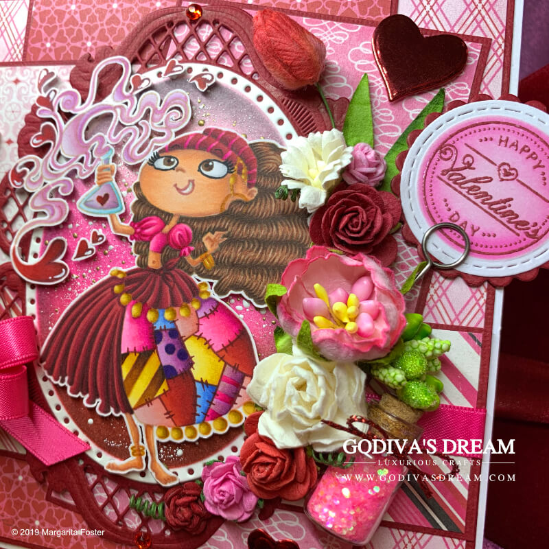 "Pretty Pink Valentine's Day Card ""Love is Magical"" by Godiva's Dream. Newsflash - bright pink is the new red! At least on this elaborate Valentine's Day card. Red is also included to avoid disappointment. And hearts. And flowers. And potions. #handmadecards #papercrafting #cardmaking #rubberstamping #valentinesday #handmadevalentines"
