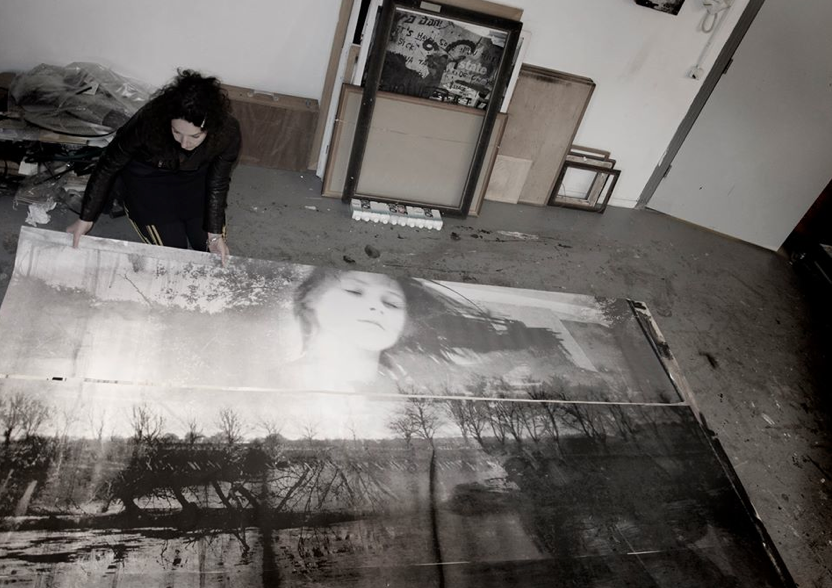 Sandra | working on a large photo artwork | @ atelier | 2016