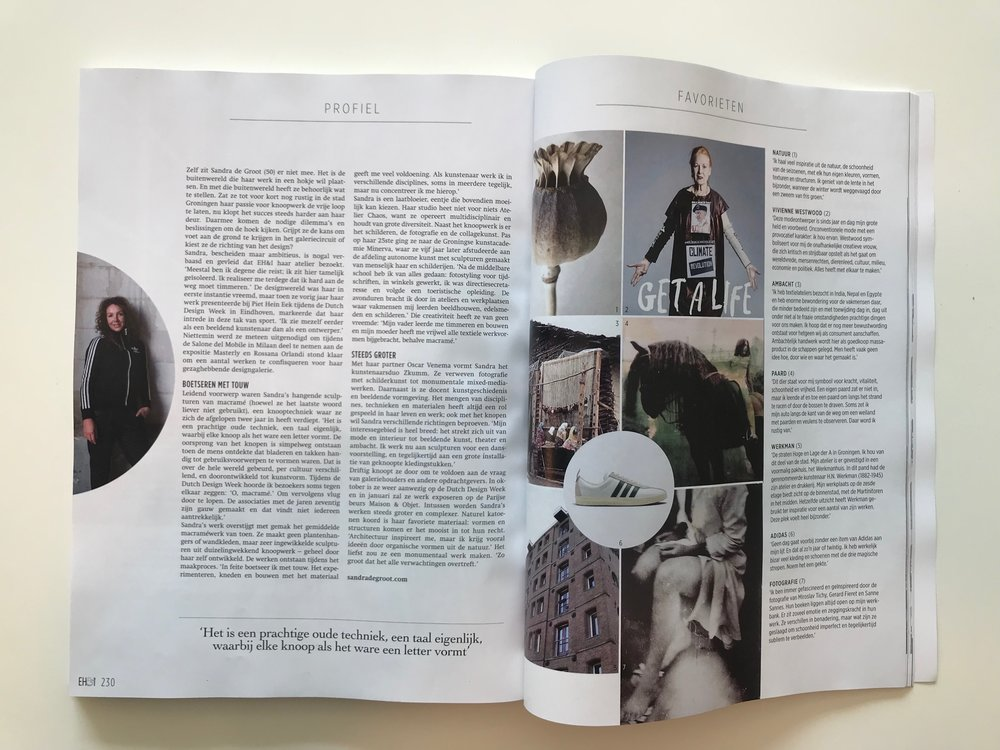 EIGEN HUIS EN INTERIEUR MAGAZINE | October 2018 | interview about my work | kNOT sculptures