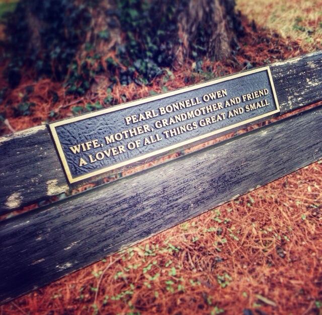 Pearl Bonnell Owen  Maymont Park Bench  Richmond, V.A.