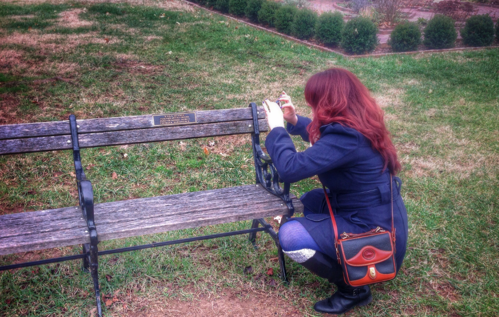 Taking pictures of a memorial bench similar to Pearl's  Maymont Park