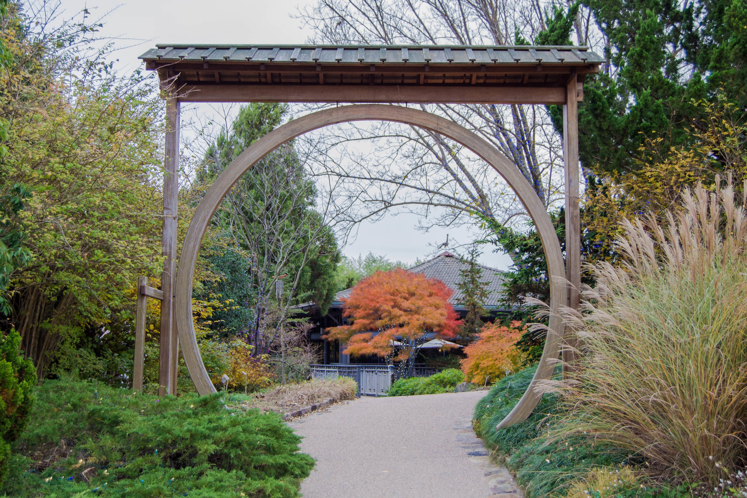 The moon gate entrance to the Robins Tea House
