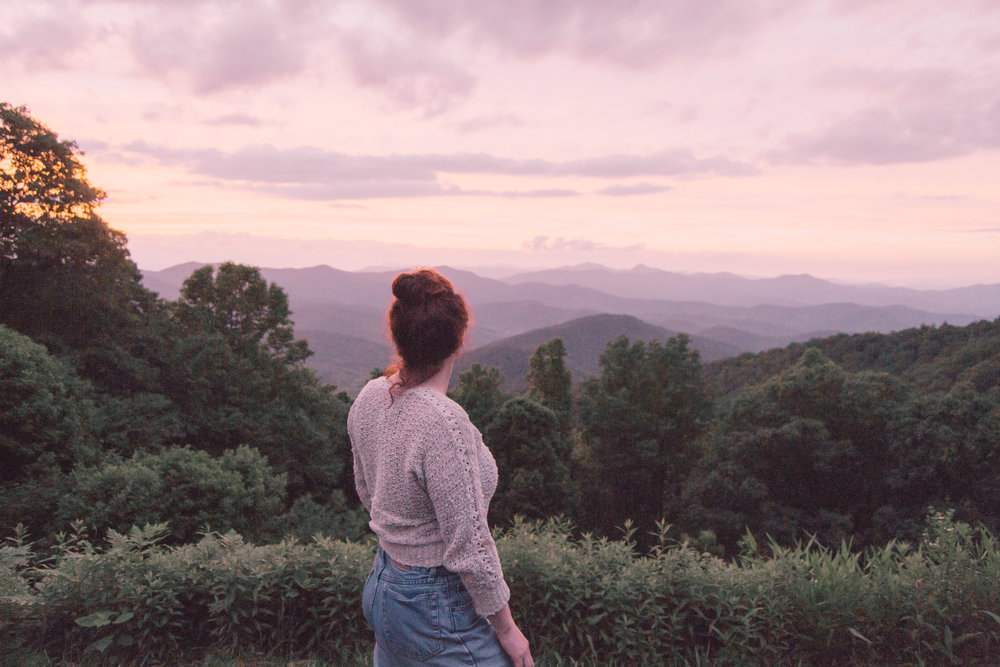North Carolina Mountains Sunset Travel Photography Girl