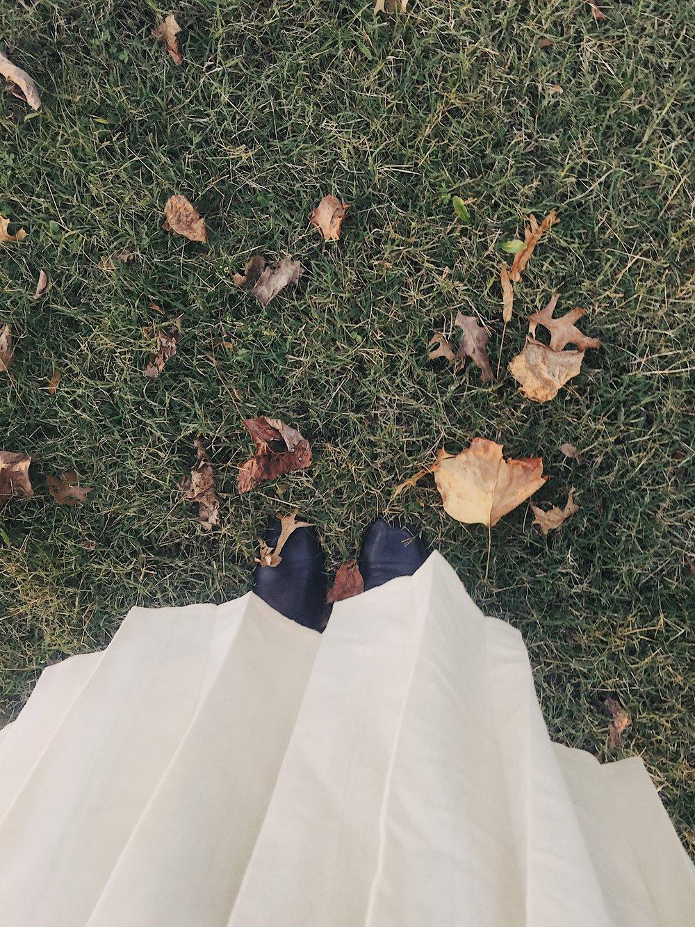 Wool Pleated Skirt Fall Leaves