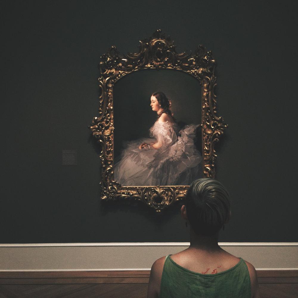 Amber admiring the Portrait of Lydia Schabelsky, Baroness Staël-Holstein CA. 1857–58  Franz Xaver Winterhalter German , 1805 - 1873