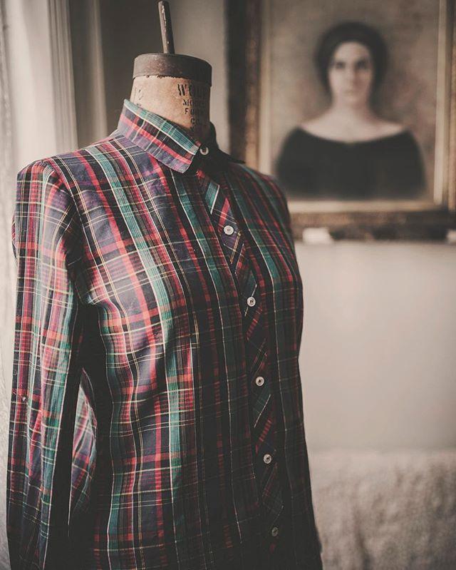 Lightweight & airy vintage plaid blouse   S/M   DM for details   $26