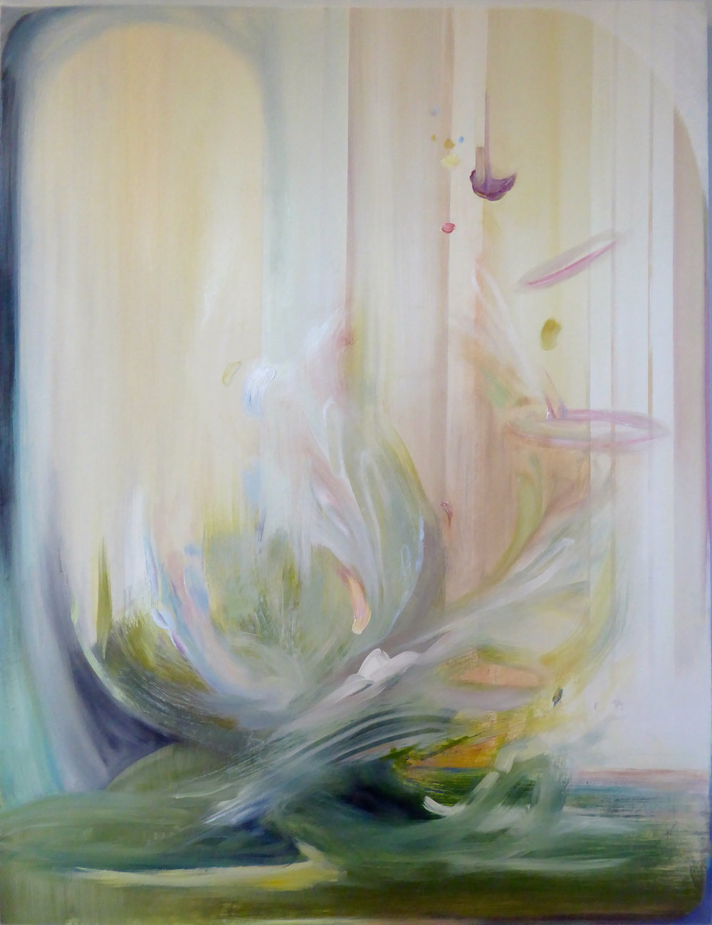 "Splash in a Bell Jar, 2014 Oil on birch panel 40"" x 30"""