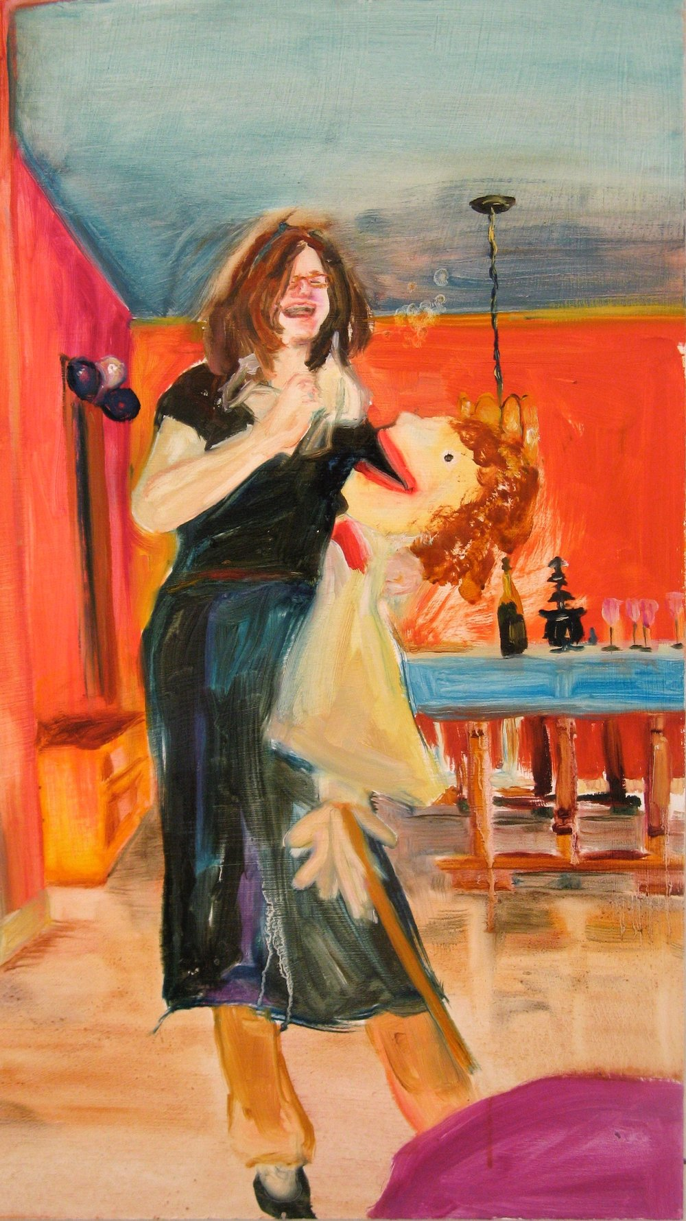 "Carry your Love Across the Threshold  , 2008 Oil on board 21"" x 11.75"""
