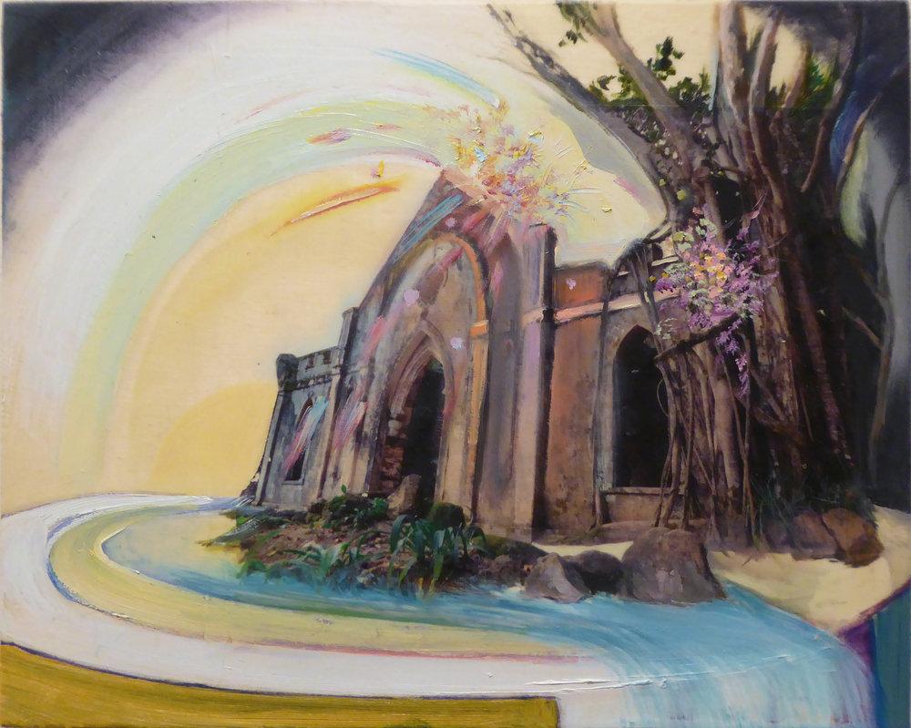 """Facade ,  2018 Oil / mixed media on birch panel 8"""" x 10"""""""