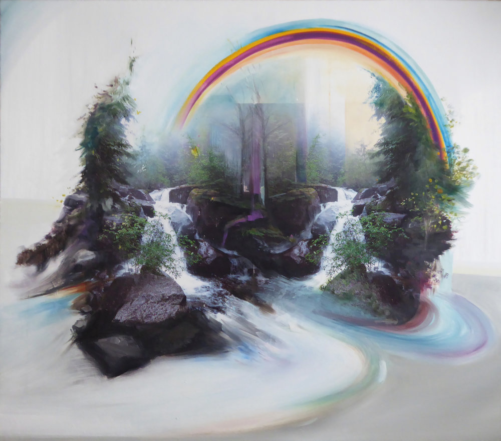"""The Falls ,  2018 Oil / mixed media on birch panel 28"""" x 32"""""""
