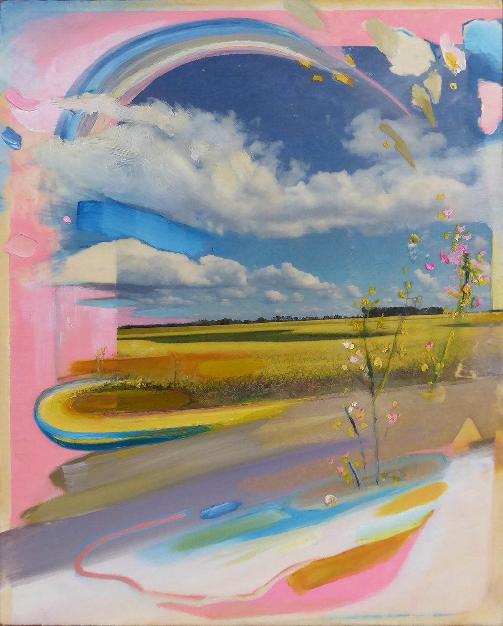"Prairie Drift   ,  2018 Oil / mixed media on birch panel 10"" x 8"""