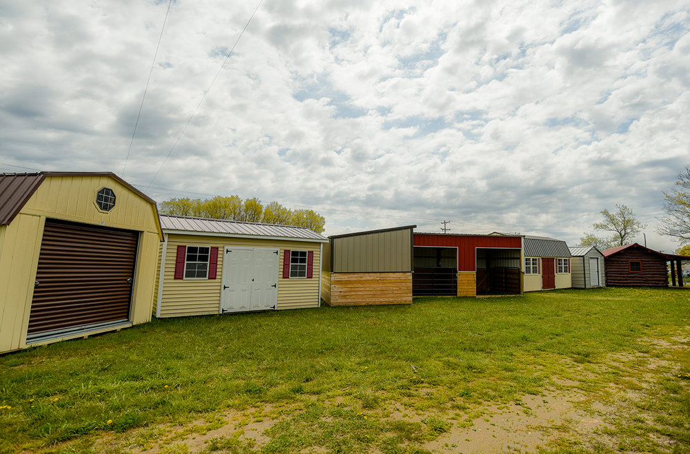 Some buildings we have onsite at our Buckley location include small cabins, sheds, carports and garages.