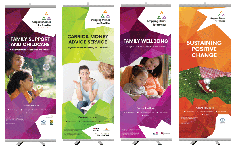 The multi-purpose pop-up banners are to be used at events hosted or attended by Stepping Stones for Families staff