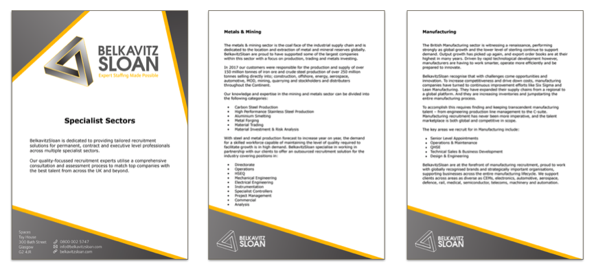 External document templates for use on sales pitches and ongoing client work.