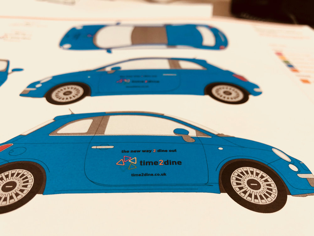 Drafts of the design for the first car we branded