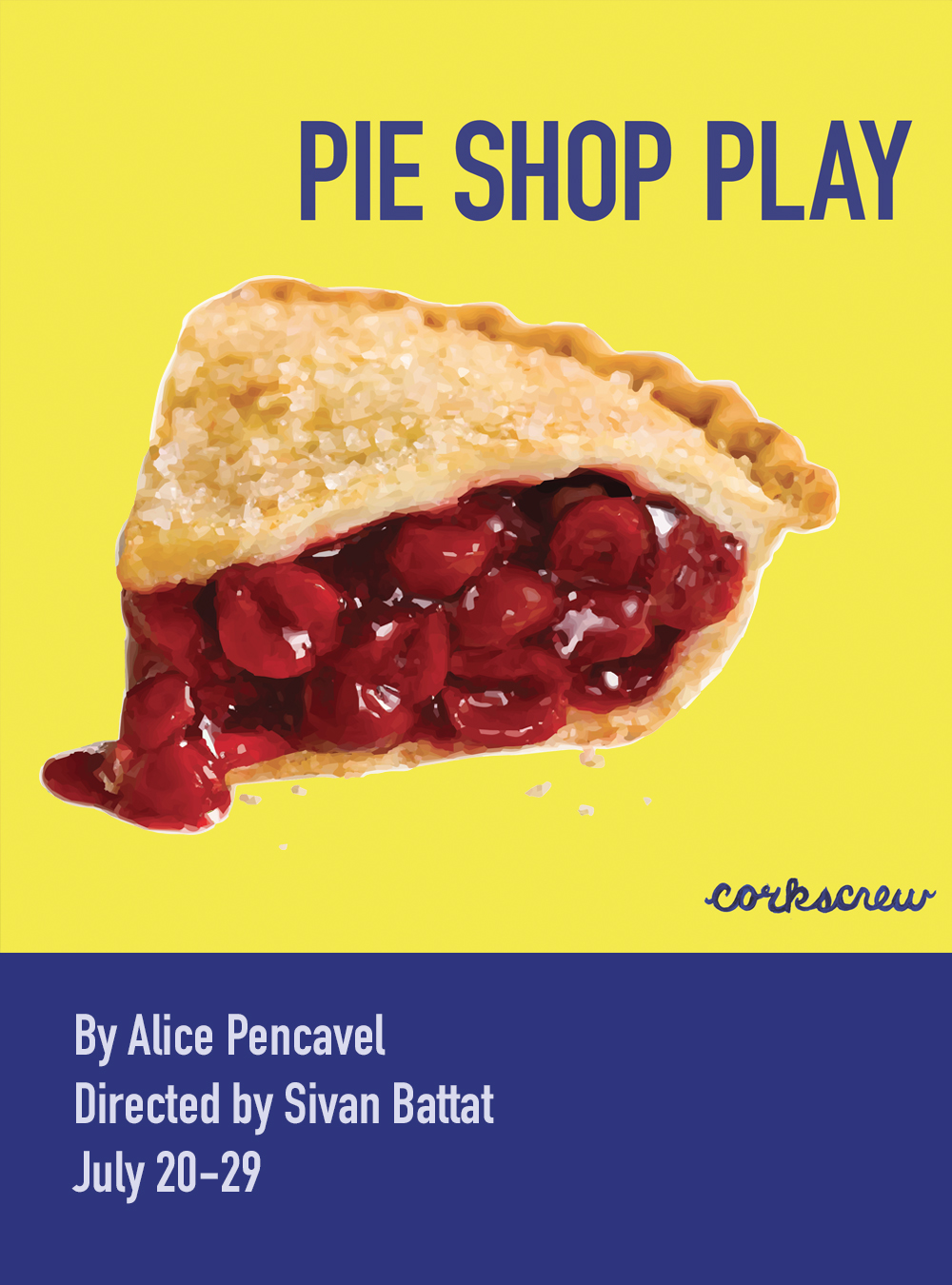 Agnes and Kitty -- the pie shop sisters - have big dreams. But when a pipe bursts, leaking toxic unknowns that flood the shop and rob them of coherent speech, they are forced to contend with a past that still haunts and divides them. Pie Shop Play reveals the havoc that trauma brings down in the name of pie.    MORE INFORMATION