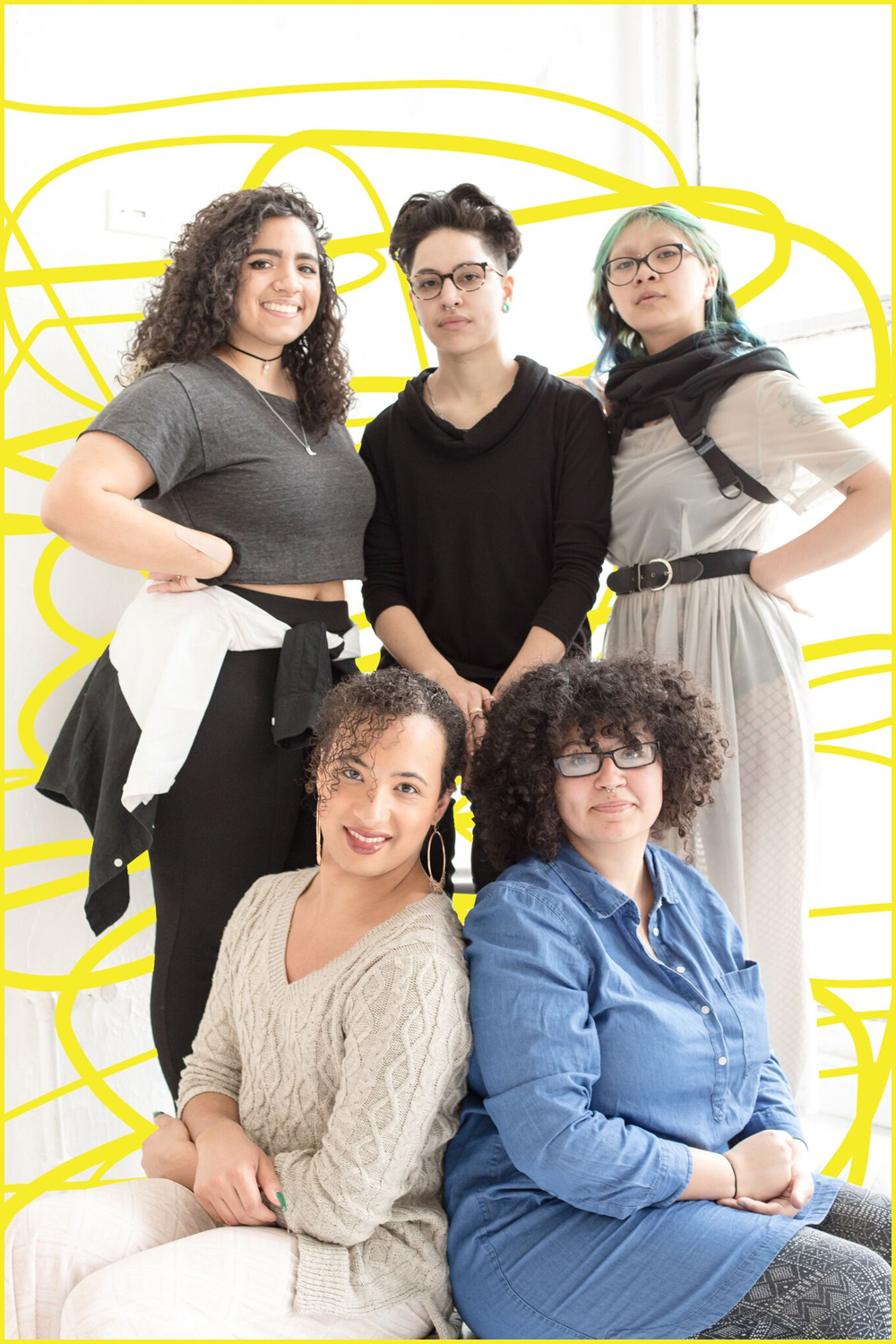 Clockwise from top left: playwright Juliany Taveras, director Manny Rivera, stage manager Rafael Tawasil, dramaturg/actor Jackie Torres, choreographer Ianne Fields Stewart