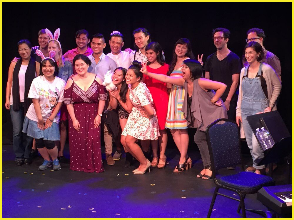 The cast and creative team of the bunny dystopia musical  Hot Cross Buns  (2017 Reading Series)