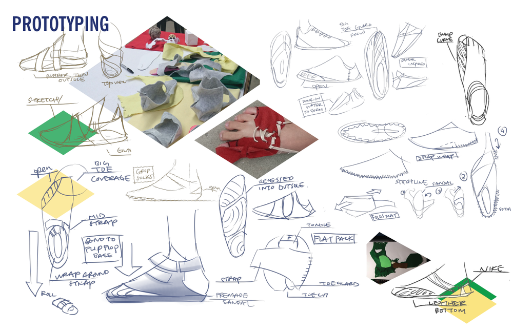 Through prototyping and exploration, I found that having the footwear be sewn together was not a wise choice, and when back into ideating on convenient assembly by the user.