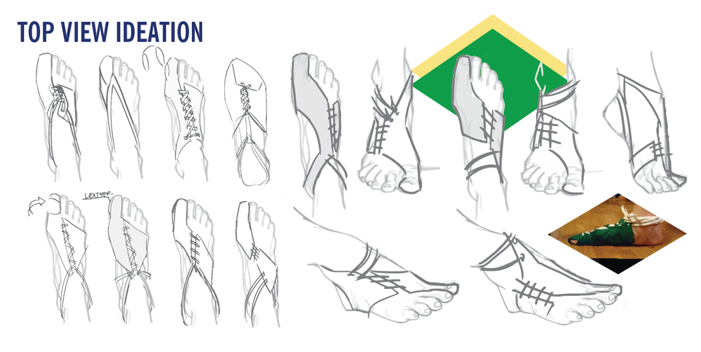 I sketched while exploring how paper could wrap around the foot, eliminating restrictive areas while keeping specific contact points protected.