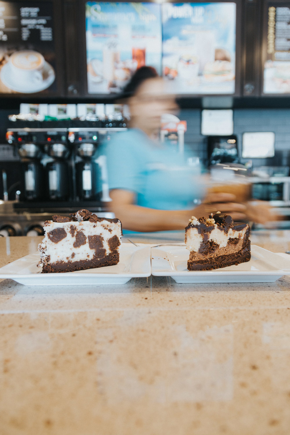 White Chocolate Cake and Peanut Butter Cheesecake available at Cambridge's Coffee Culture