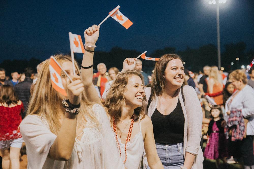 Laughs during Blackbridge's set at Canada 150 celebrations in Cambridge
