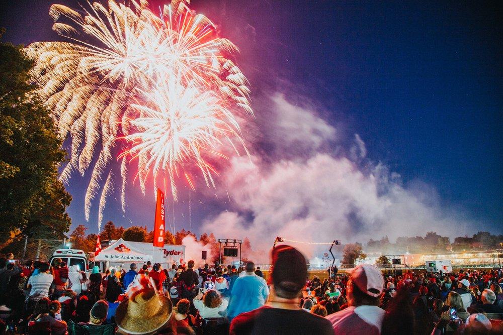 Riverside Park Fireworks during Canada's 150th Celebration