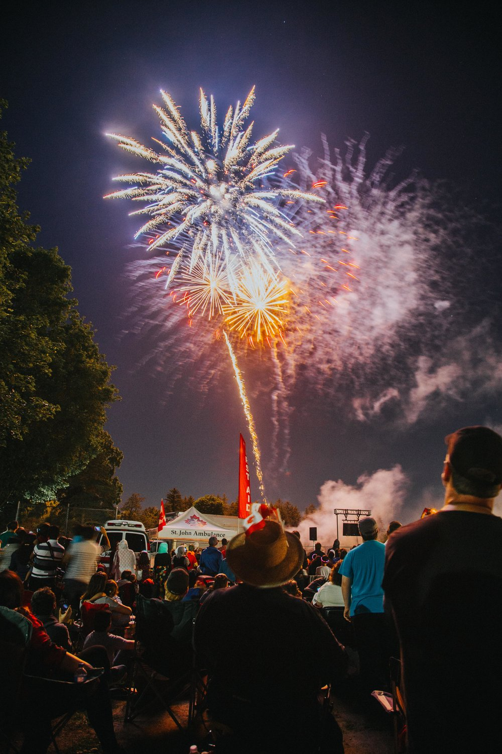 Riverside Park Fireworks during Canada's 150th Celebration