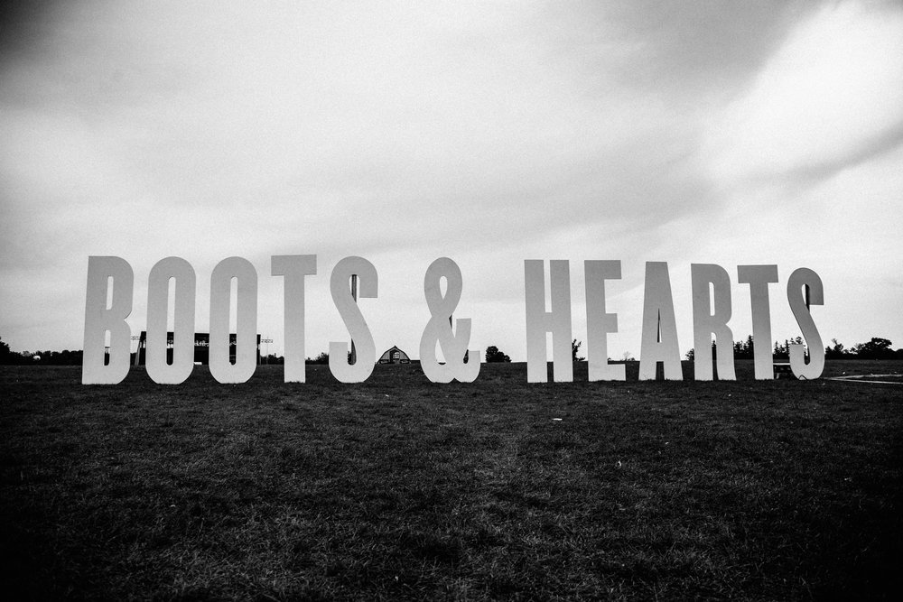 Boots and Hearts welcome sign