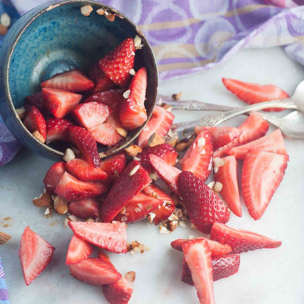 Balsamic Strawberries with Shattered Almonds