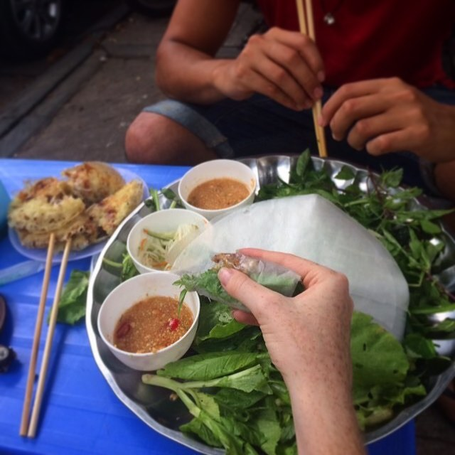 check out the street food in vietnam. DIY spring rolls!