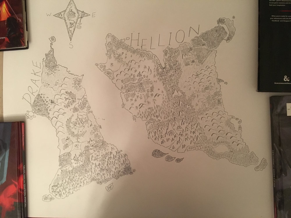 This is a big map I drew of Drake & Hellion, the Twin Isles, where every game I run is set. I have been running Drake and Hellion for over five years now!