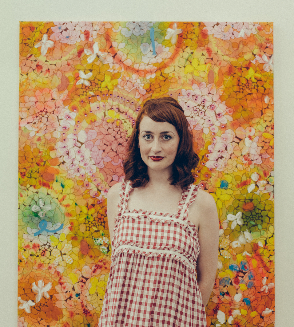 Minna stands with her artwork 'Hello Mary Lou, goodbye heart'