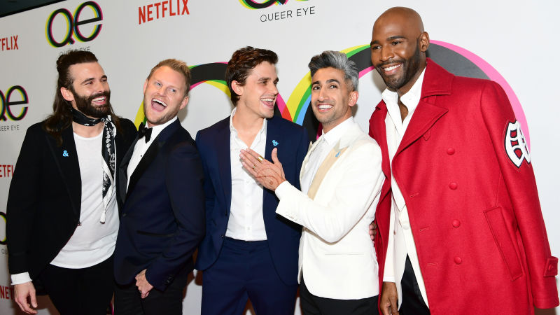Queer Eye's Fab Five, left to right, Jonathan Van Ness, Bobby Berk, Anthony Porowski, Tan France and Karamo Brown.  Image: Jetty