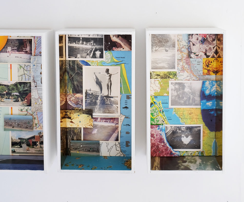 Valerie's Trip to the Gold Coast [1965/2018] - 'Valerie's Trip to the Gold Coast; New Orleans Motel, Surfers Paradise; Jack Evans Porpoise Pool, Coolangatta; Currumbin Sanctuary, Currumbin'   1965/2018Mixed Media Collage in Original Caravan Drawers