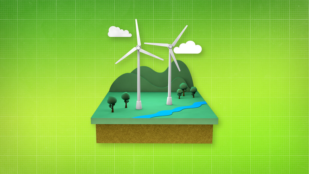 V/O: Other greener energy sources are kinder to the earth. Electricity made from wind,  ACTION: A diorama of a wind turbine appears..
